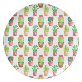 Watercolor Hand Drawn Cactus Pattern Illustration Plate