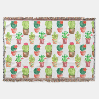 Watercolor Hand Drawn Cactus Pattern Illustration Throw Blanket