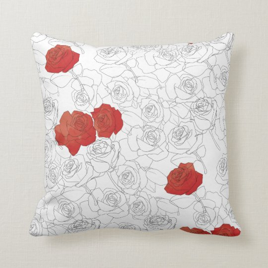 Watercolor Hand Drawn Roses Throw Pillow
