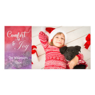 Watercolor Hand Lettered Script Photo Christmas Card