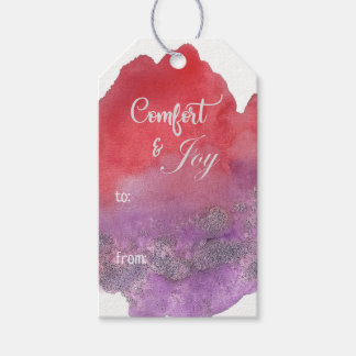 Watercolor Hand Lettered Script Photo Christmas Gift Tags