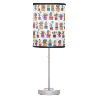 Watercolor hand paint cactus pattern table lamp