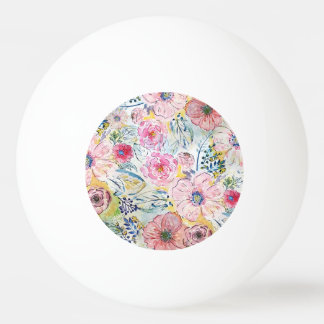 Watercolor hand paint floral design ping pong ball