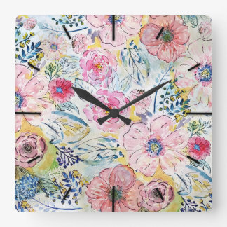 Watercolor hand paint floral design square wall clock