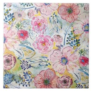 Watercolor hand paint floral design tile