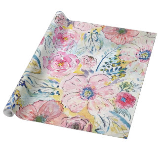 Watercolor hand paint floral design wrapping paper