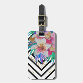 Watercolor hand paint tropical flowers luggage tag