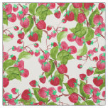 Watercolor hand painted red green strawberries fabric
