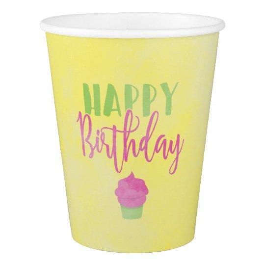 Watercolor Happy Birthday Cupcake Paper Cup