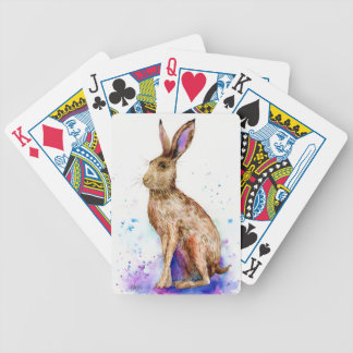 Watercolor hare portrait bicycle playing cards