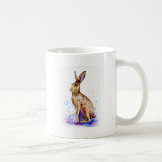 Watercolor hare portrait coffee mug