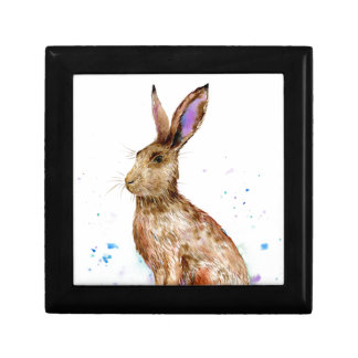 Watercolor hare portrait gift box