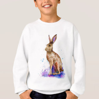 Watercolor hare portrait sweatshirt