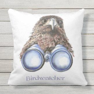 Watercolor Hawk Birdwatcher Bird Fun Outdoor Pillow