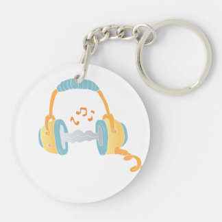 watercolor headphone. Double-Sided round acrylic keychain