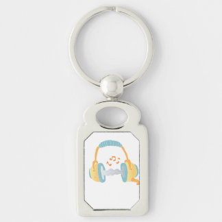 watercolor headphone. Silver-Colored rectangle keychain