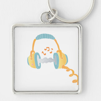 watercolor headphone. Silver-Colored square keychain