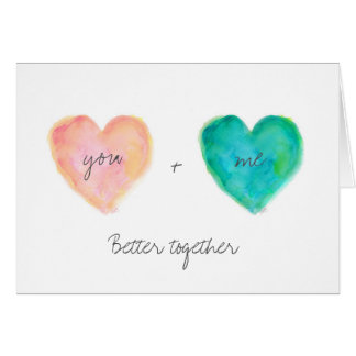 Watercolor Heart Better Together Valentine Love Card
