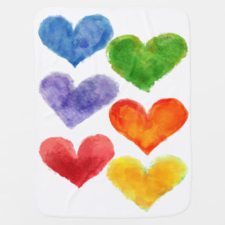 Watercolor Heart Blanket Receiving Blanket