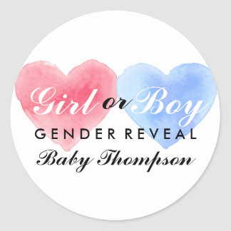 Watercolor Heart Gender Reveal Party Sticker