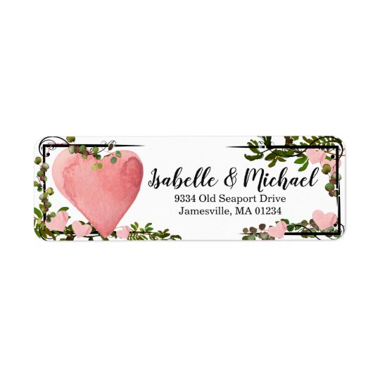 Watercolor Heart & Greenery Return Address Labels