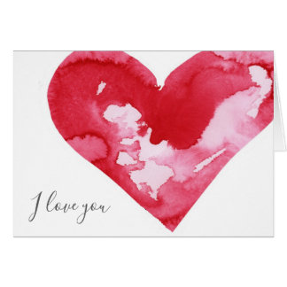 Watercolor Heart I Love You Valentine's Day Card