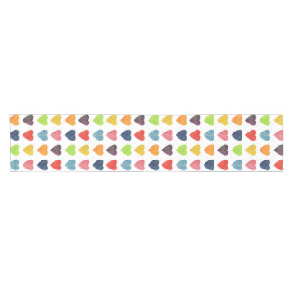 Watercolor Heart Pattern Short Table Runner