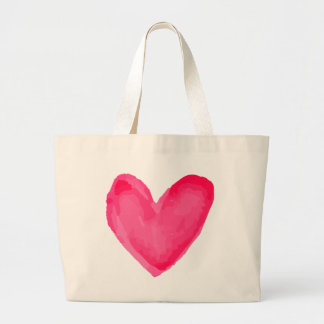 Watercolor Heart Pink Red Love Large Tote Bag
