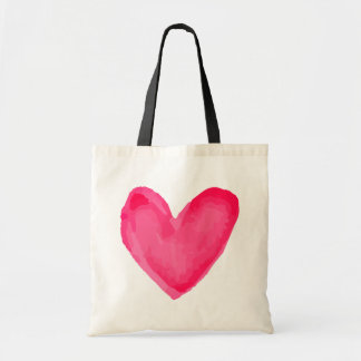 Watercolor Heart Pink Red Love - Wedding Tote Bag