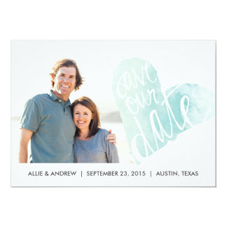 Watercolor Heart Save the Date Announcement