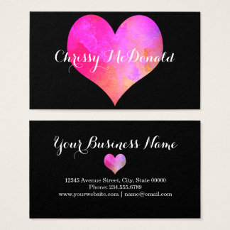 Watercolor Heart with Personalized Information Business Card