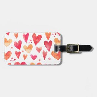 Watercolor HEARTS Bag Tag