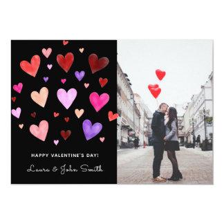 Watercolor Hearts Explosion Photo Card