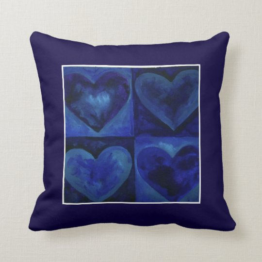 Watercolor Hearts Navy Royal Blue Heart Art Pillow