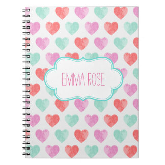 Watercolor Hearts Notebook