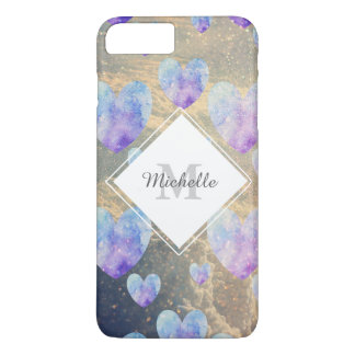 Watercolor Hearts Pattern and Clouds iPhone 7 Plus Case