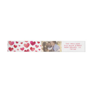 Watercolor Hearts Valentine's Day Wrap Around Label