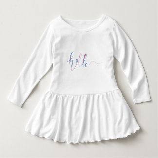 Watercolor Hello Text on a Baby Dress