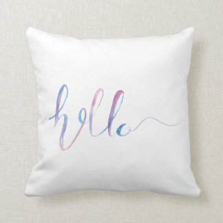 Watercolor Hello Text on a Pillow