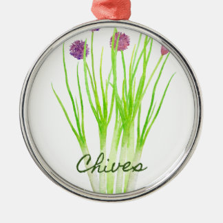 Watercolor herb chives illustration metal ornament
