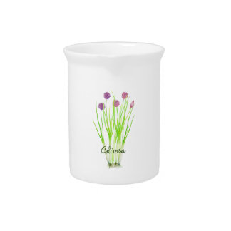 Watercolor herb chives illustration pitcher