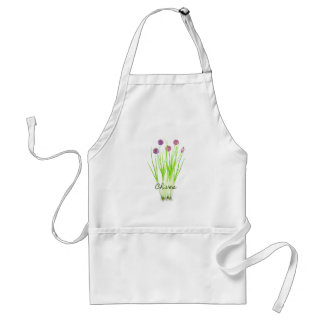 Watercolor herb chives illustration standard apron