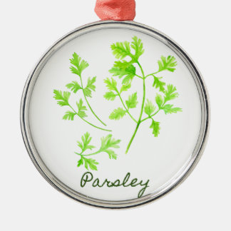 Watercolor Herb Parsley Illustration Silver-Colored Round Ornament