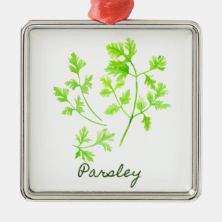 Watercolor Herb Parsley Illustration Silver-Colored Square Ornament