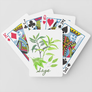 Watercolor herb sage illustration bicycle playing cards
