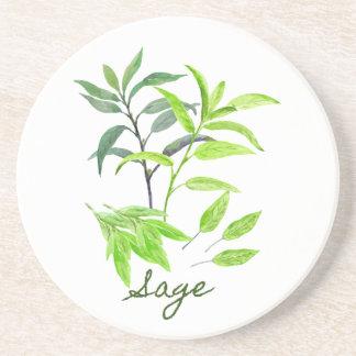 Watercolor herb sage illustration coaster