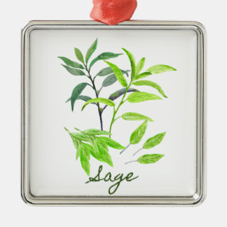 Watercolor herb sage illustration metal ornament