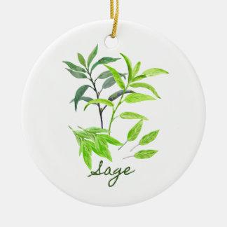 Watercolor herb sage illustration round ceramic ornament