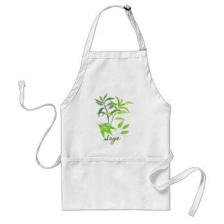 Watercolor herb sage illustration standard apron