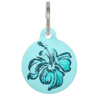 Watercolor Hibiscus Hawaiian Tropical Pet ID Tags
